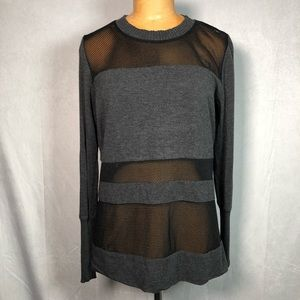 Alo yoga gray black mesh long sleeve top